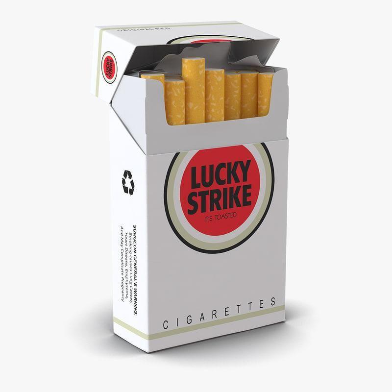 Opened Cigarettes Pack Lucky Strike 3d Model Ad Pack Cigarettes Opened Model Lucky Cigarettes Cancer Warnings