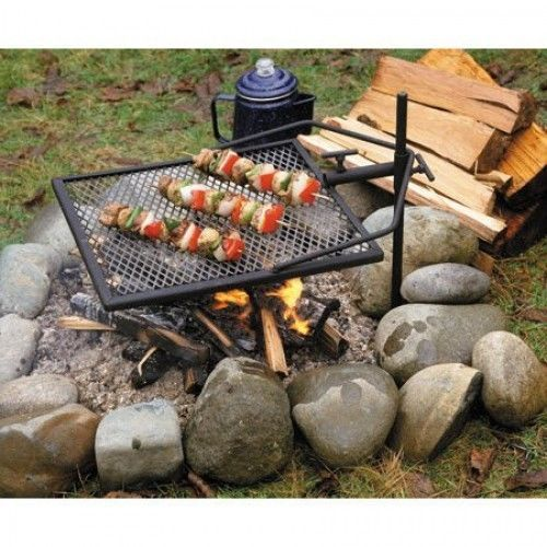 Adjustable Portable Campfire Grill Camping Grate Fire BBQ