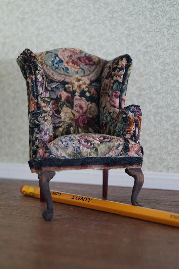 Dollhouse Miniature Wing Chair with Petit Point