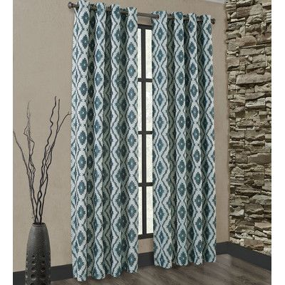 Richloom Home Fashions Carsen Single Curtain Panels Size 50 W X 108 L Color Teal