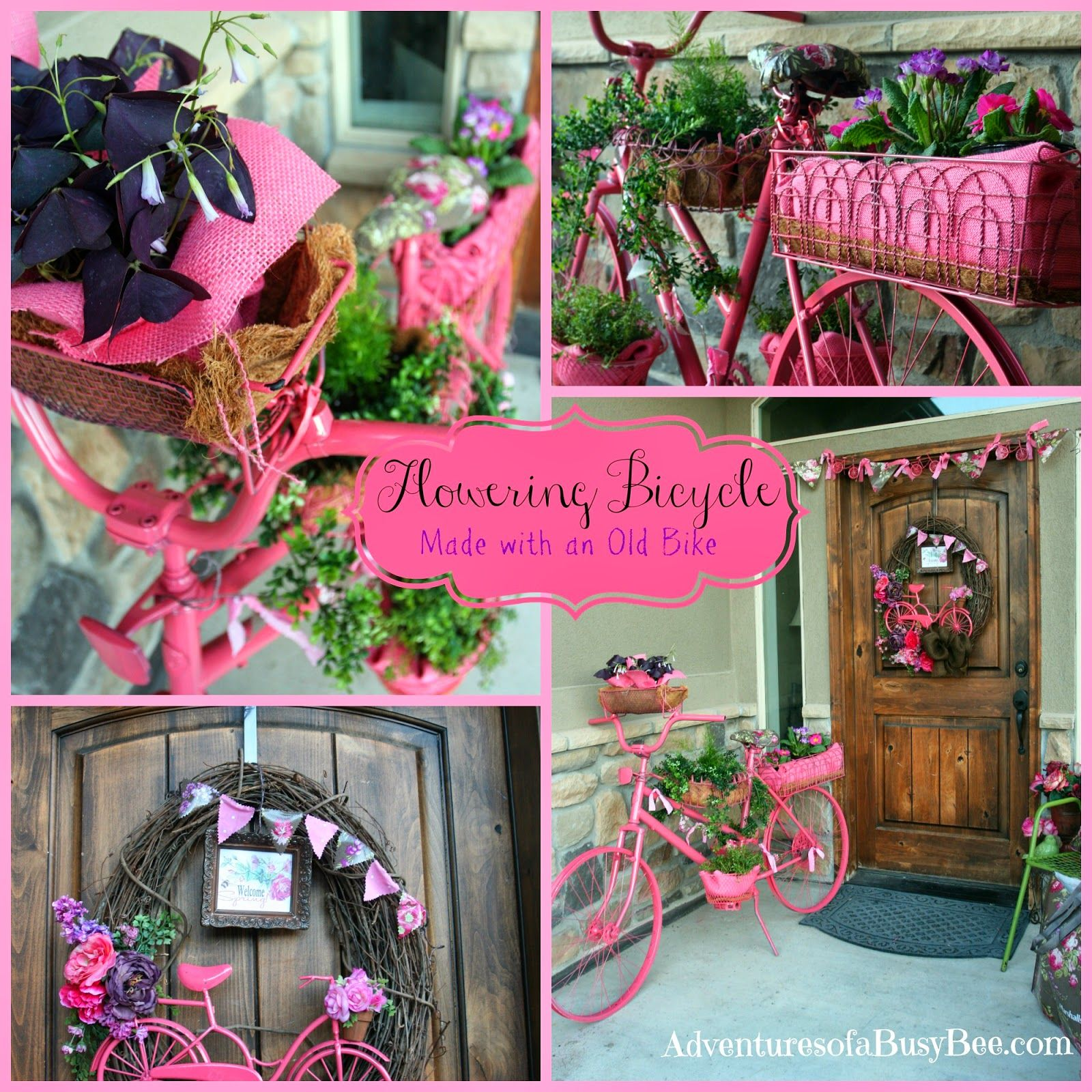Flowering Garden Bike And Porch Design Made With An Old