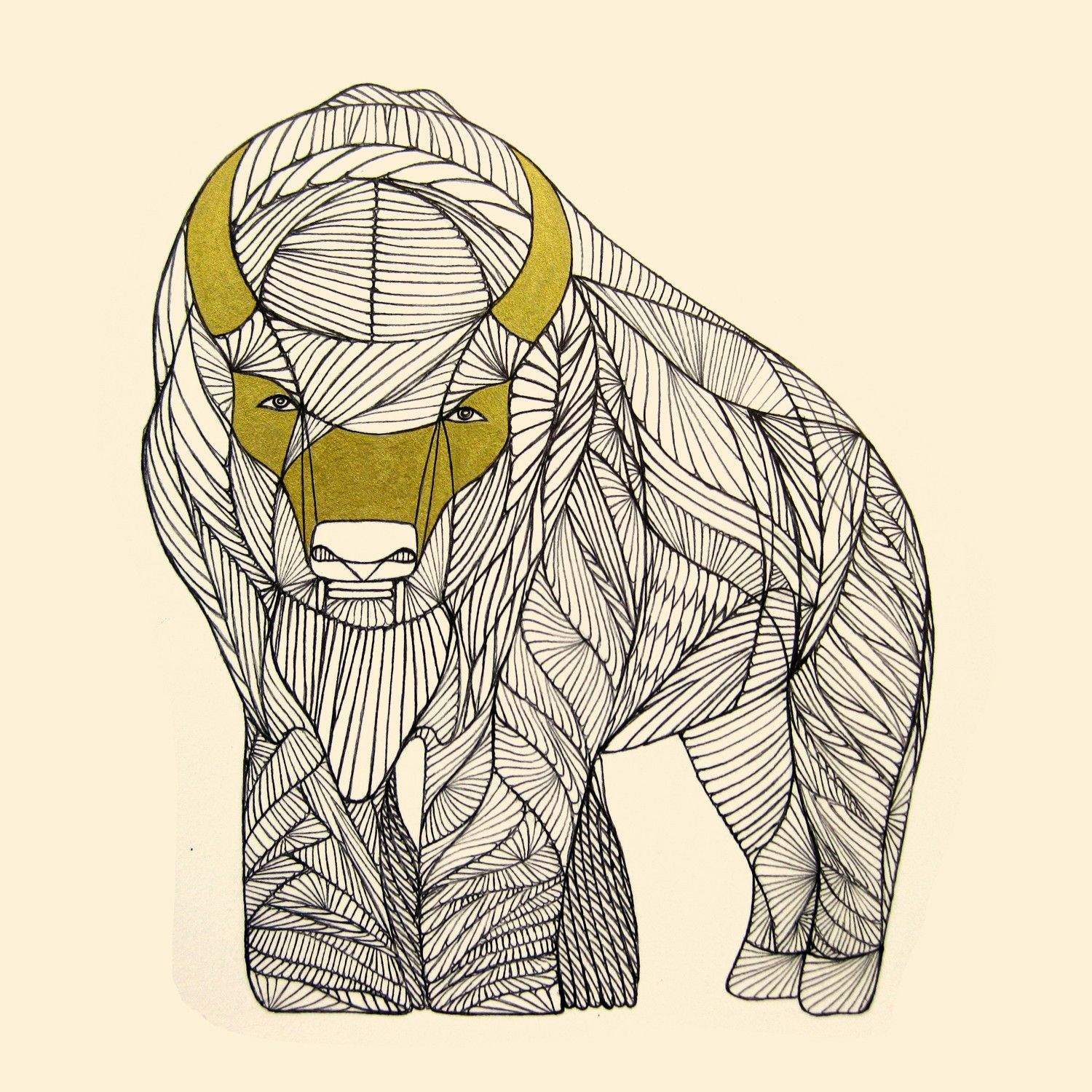 Line Art Drawings Of Animals : Buffalo art print native animal line drawing by thailan