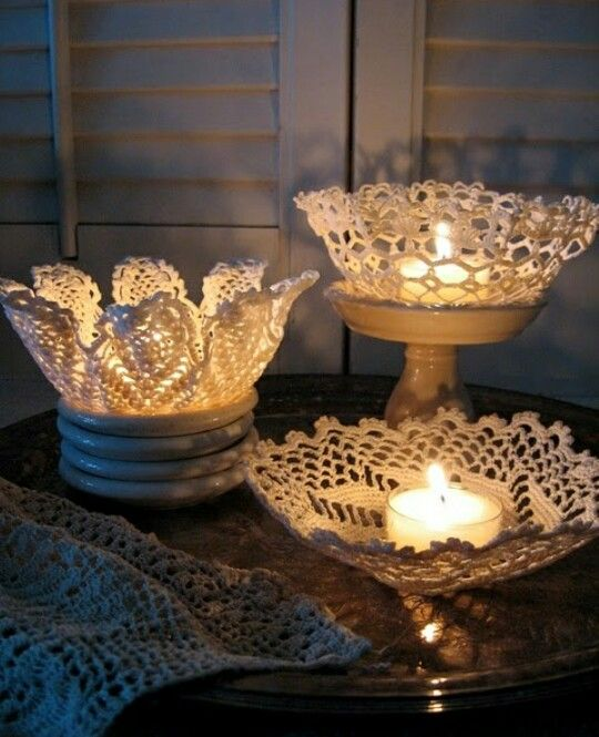 Lace doily bowls: Cover desired bowl in plastic wrap. Soak doily in DIY fabric hardener and place over plastic covered bowl and let dry!
