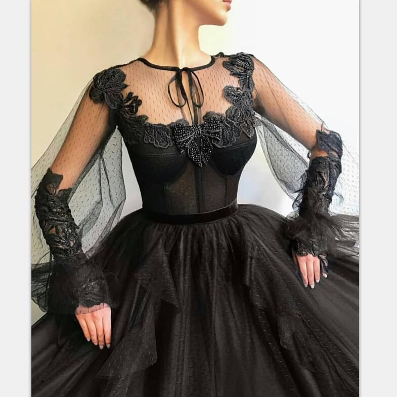 Black Long A-line Prom Dress, Long sleeves Modest Prom Gown ,PD0879 Black Long A-line Prom Dress, Long sleeves Modest Prom Gown ,PD0879 #modestprom