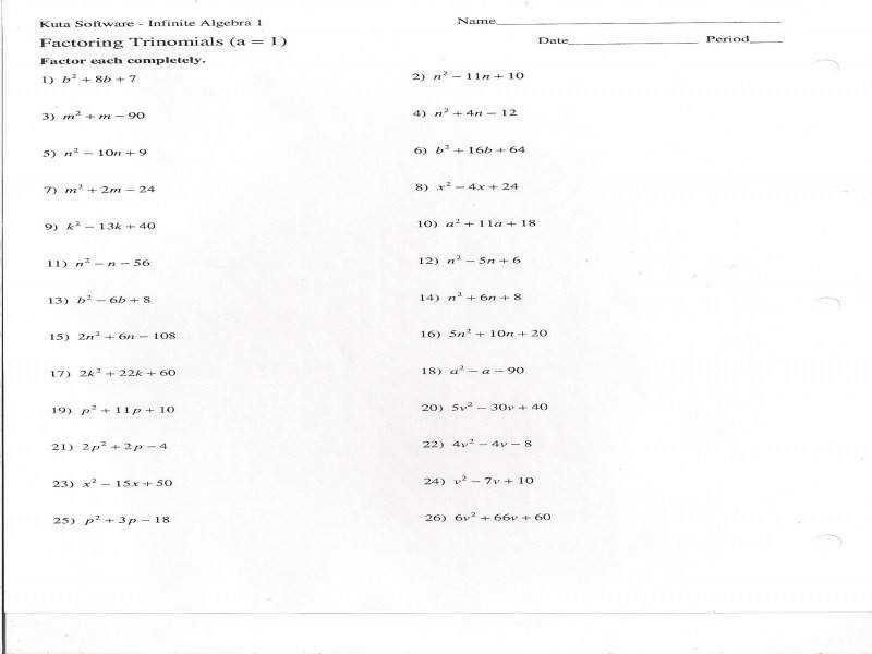 42 Factoring Trinomials Practice Worksheet Answers in 2020