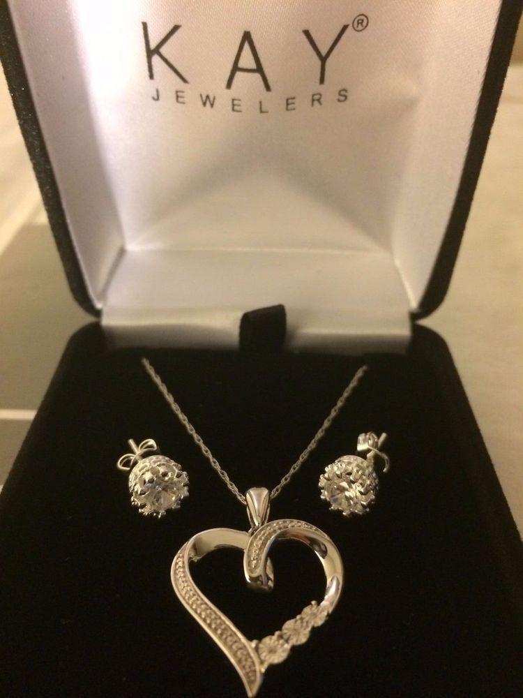 eb83bb567 Kay Jewelry Diamond Necklace + Earrings Jared Zales Heart Anniversary Gift