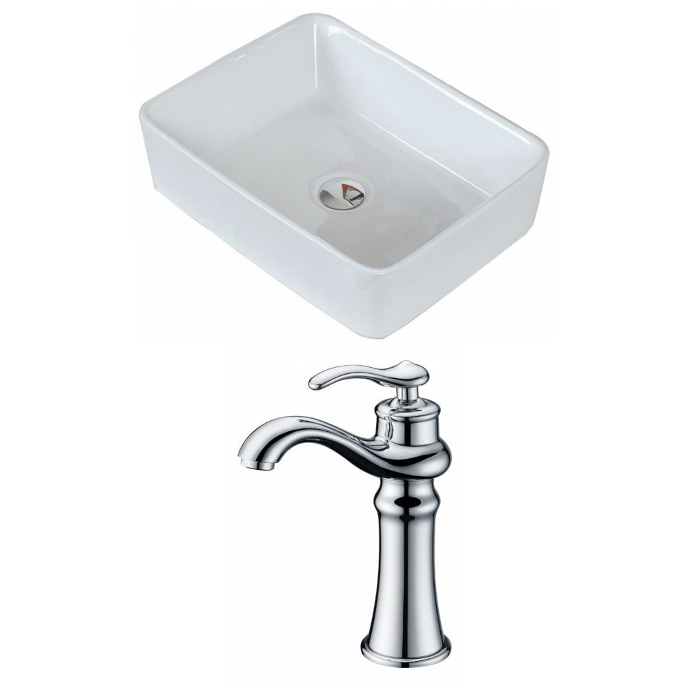 19 Inch W X 14 Inch D Rectangular Vessel Sink In White With Deck