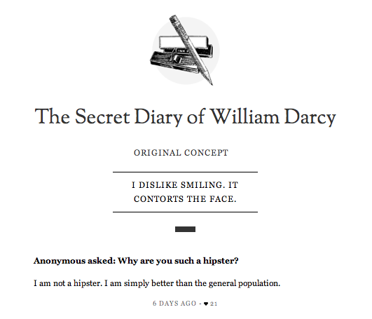 Via The Secret Diary of William Darcy. The Lizzie Bennet Diaries
