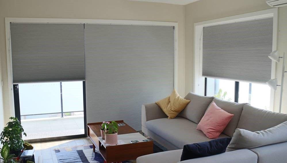 Tolles Wohnambiente mit sensuna® Wabenplissees #grau #wohnzimmer - farbe fürs wohnzimmer