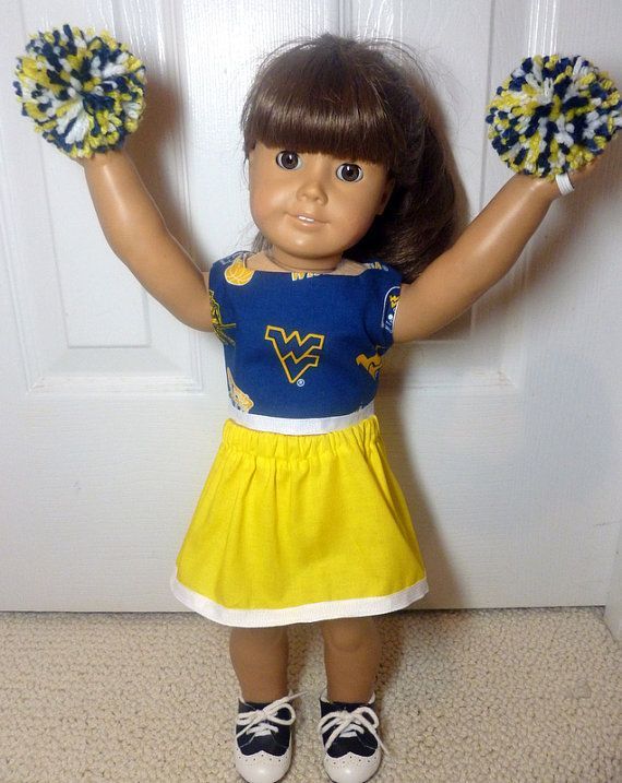 American Girl doll clothes cheerleader WV Mountaineers 18 inch doll West Virginia University #18inchcheerleaderclothes