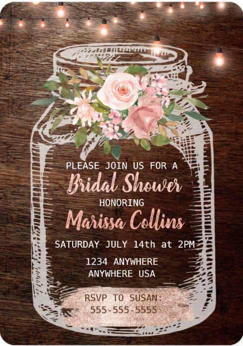 Rustic Boho Bridal Shower Invitations / Party Invites