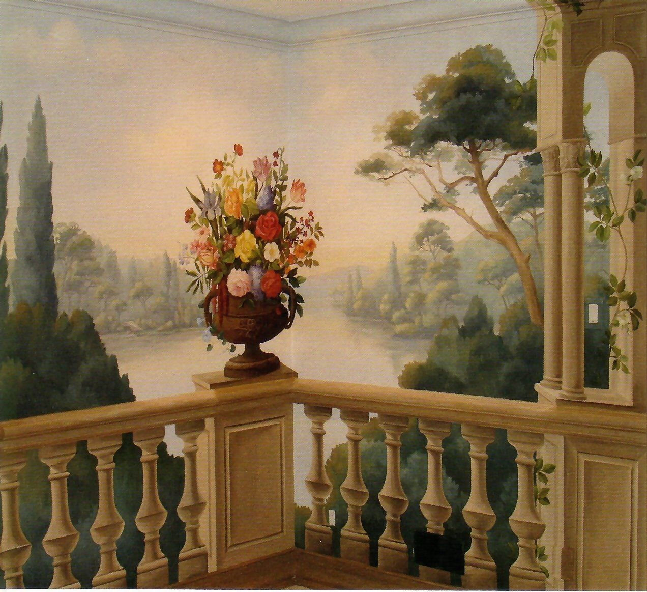 Classic painted wall mural decorative painted walls for Best paint for a wall mural