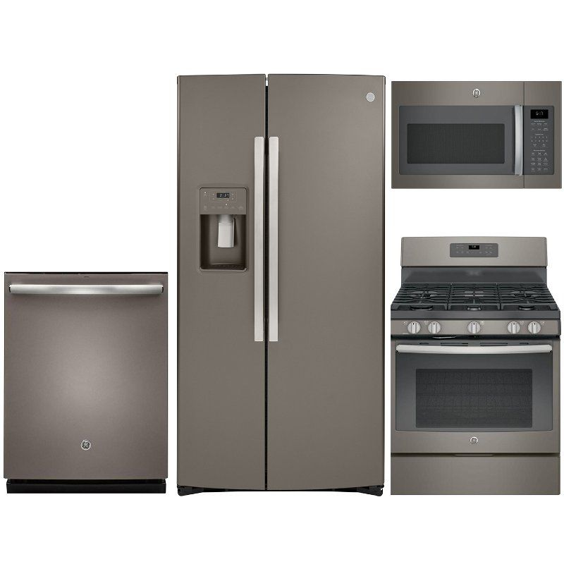 Ge 4 Piece Gas Kitchen Appliance Package With Side By Side