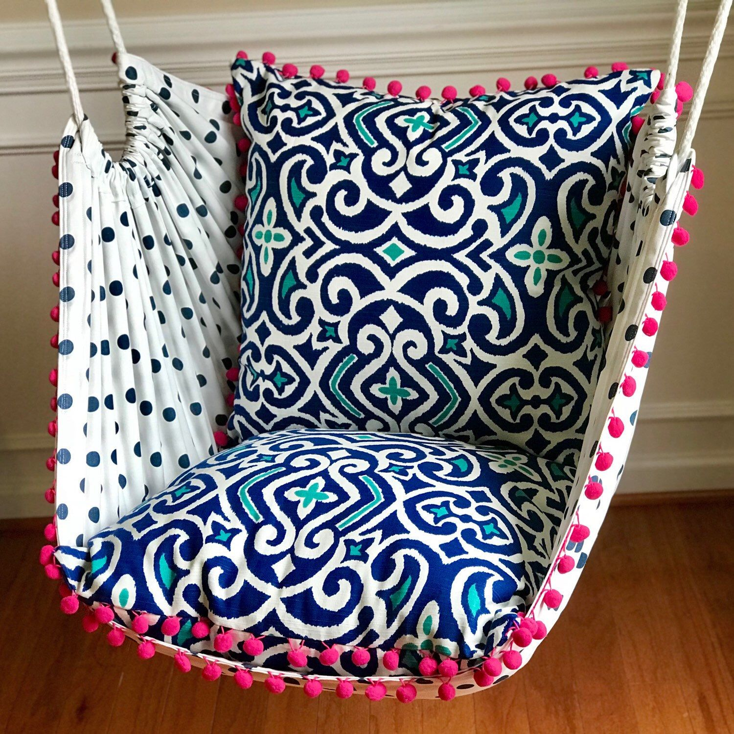 UrbanWoodworkCo shared a new photo on Etsy is part of Patterned chair - Product Details✨  Get ready to kick back and lounge in style with these amazingly comfortable and durable hammock chairs  Urban Woodwork Company is known for having by far the most beautiful and stylish hammock chairs on the market  Custom made to order from durable upholstery weight fabrics of