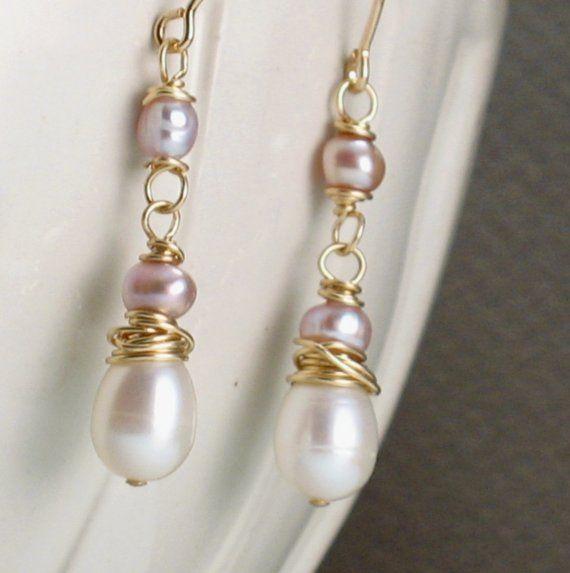 Boleyn  Ivory Pearl Bridal Earrings  Ivory Pearls and by trillium, $28.00