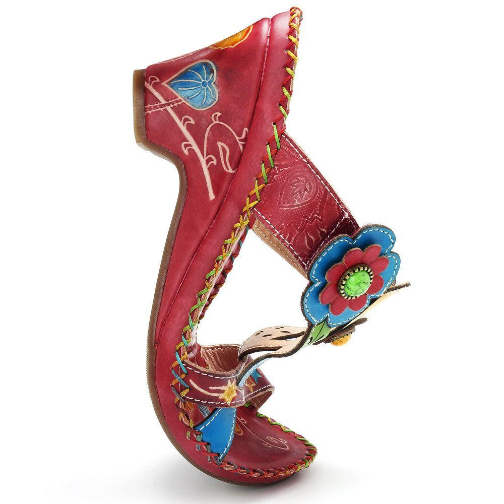 379ec8f6a9d High-quality SOCOFY Bohemian Genuine Leather Adjustable Hook Loop Handmade  Pattern Sandals - NewChic