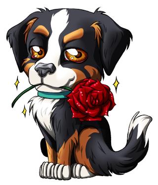 Chien chibi avec 1 rose manga animaux pinterest - Dessin manga animaux ...