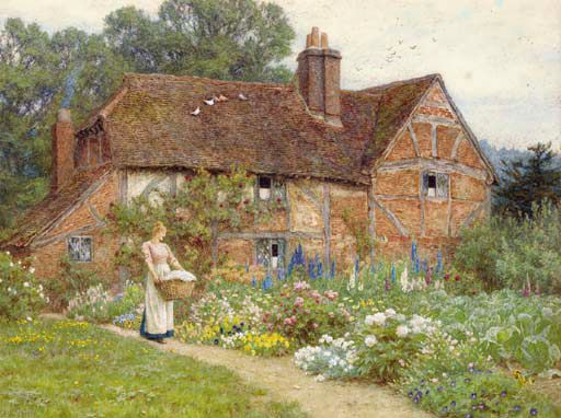 A Mother and Child Entering a Cottage, watercolor by Helen ...