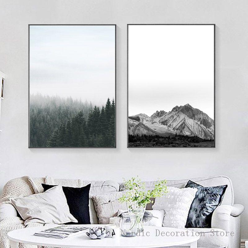 Pas cher Nordique Paysage Affiches Et Gravures Noir Et Blanc Mur De