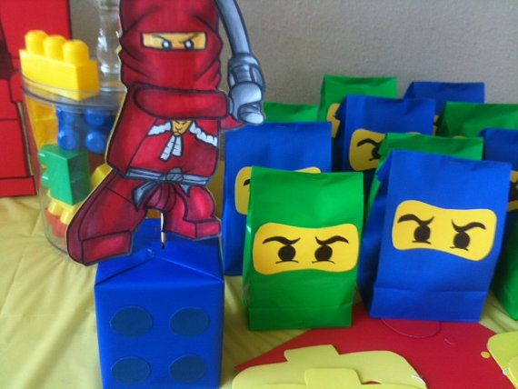 Party set of 20 lego ninjago birthday goodie bags on etsy for Lego ninjago zimmer deko