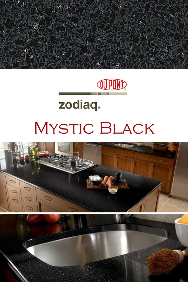 Mystic Black By Zodiaq Is Perfect For A Kitchen Quartz Countertop Installation Kitchen Remodel Countertops Quartz Kitchen Kitchen Countertops Granite Colors