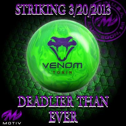 The Motiv Venom Toxin Displays Bright Colors As A Warning This Hybrid Is Deadly Bowling Bowling Balls Bowling Ball