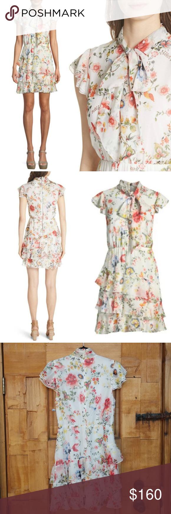 7dc8fd8bf93 New ALICE + OLIVIA Lessie Floral Tie Neck Dress Alice and Olivia Lessie Tie  Neck Short