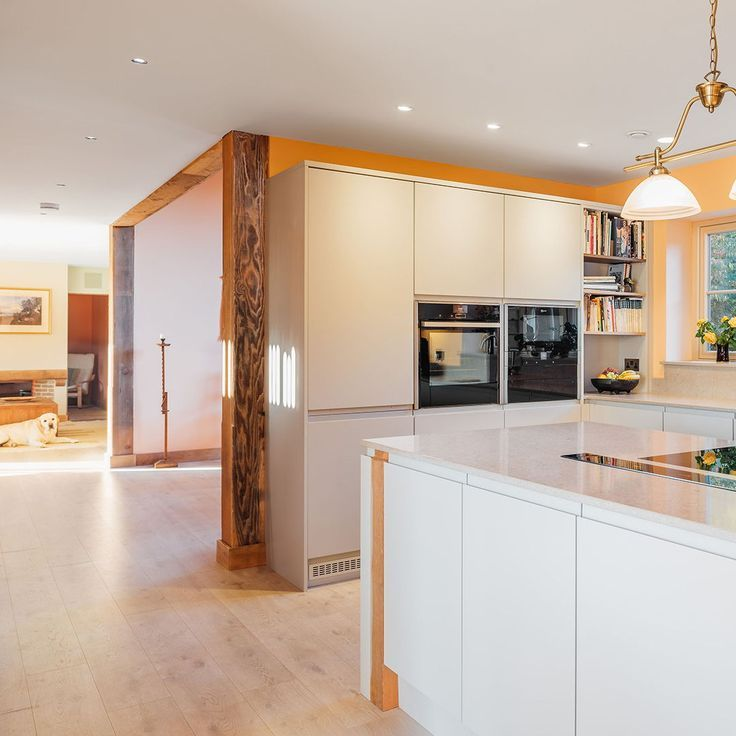 Modern Country Homes Design: Modern Country Kitchen, White Units And Timber Beams