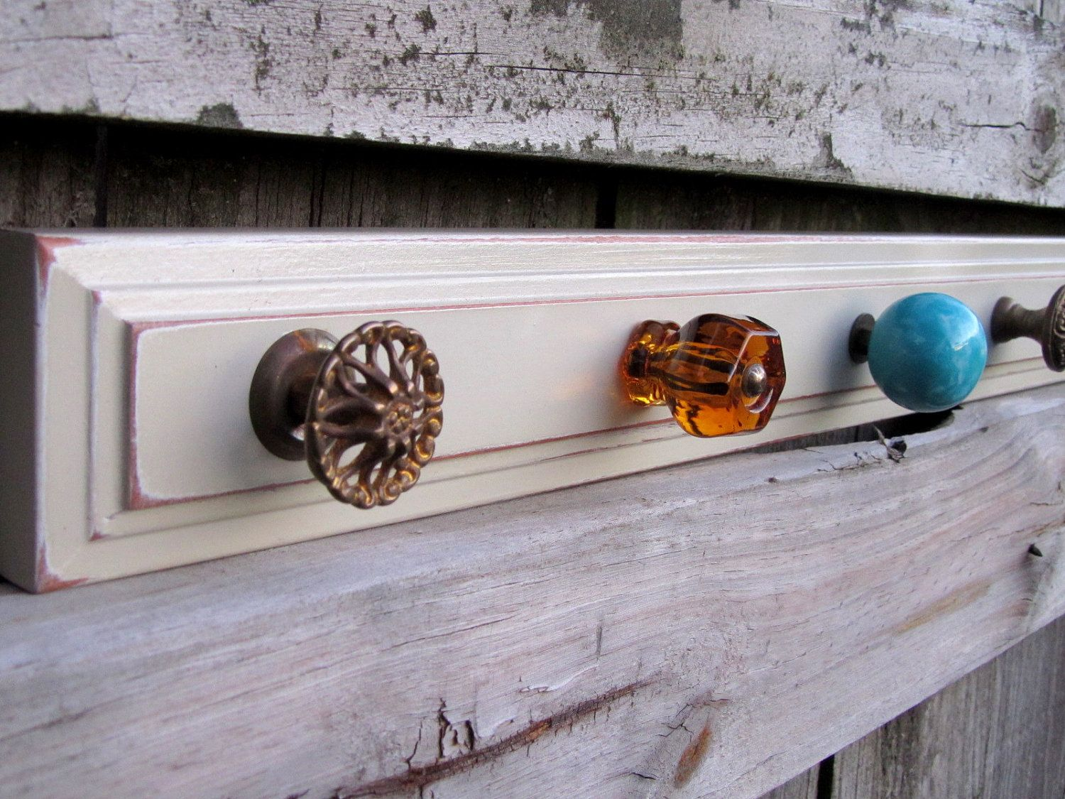 35 Eclectic Turquoise and Amber Knob Rack from by TheDoorStop
