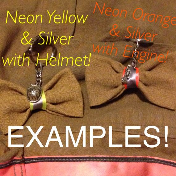 Small Bunker Gear Keychain Bow With Charm for firefighters - packing slip