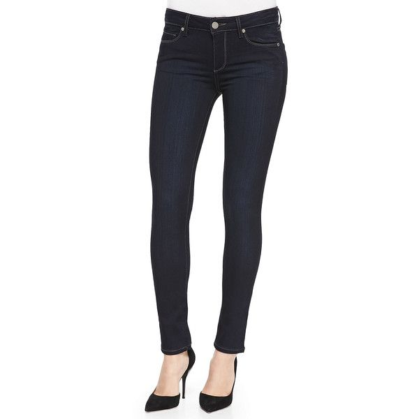 Paige Denim Skyline Skinny Jeans ($169) ❤ liked on Polyvore featuring jeans, mona, mid-rise jeans, super skinny jeans, zipper skinny jeans, paige denim and denim skinny jeans