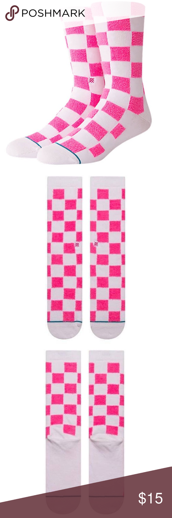 """NWT Stance Men's """"Blokz"""" Checkered Socks NEW WITH TAGS"""