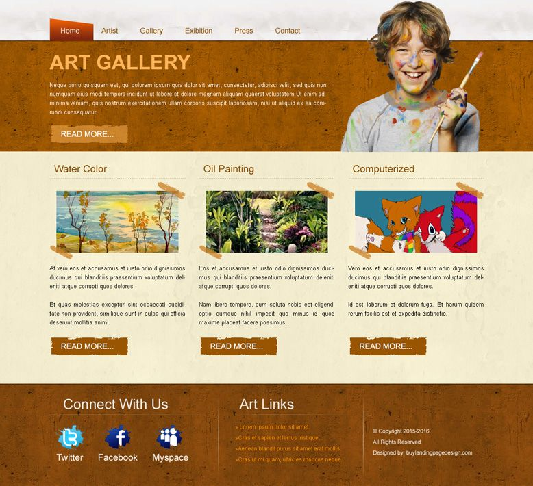 best-art-gallery-website-template-design-psd-to-create-your-art ...
