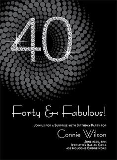Diamond Numbers 40th Milestone Birthday Invitations by Noteworthy