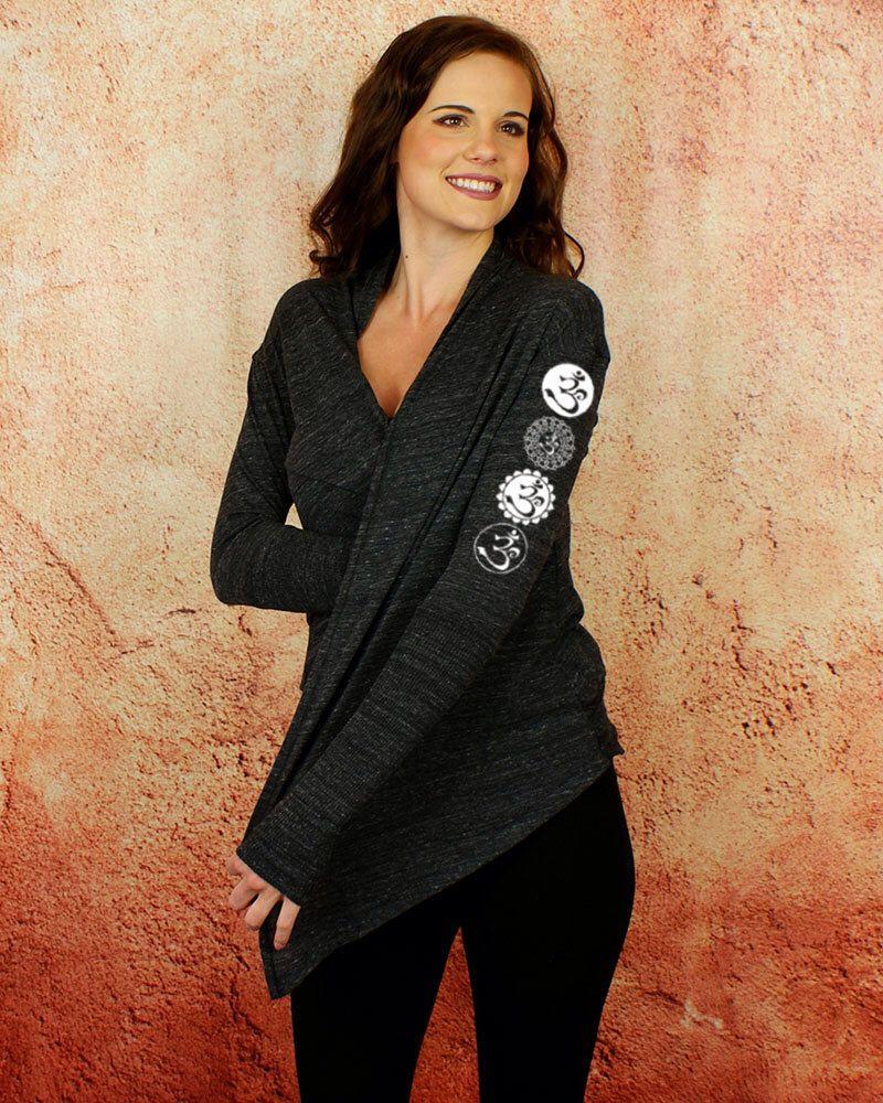 Sacred Om Symbol - Black Cardigan, Yoga Wrap, Lightweight Woman's Top, Womens Tie Wrap, by Goddess Gear Designs by GoddessGearDesigns on Etsy https://www.etsy.com/listing/217857397/sacred-om-symbol-black-cardigan-yoga