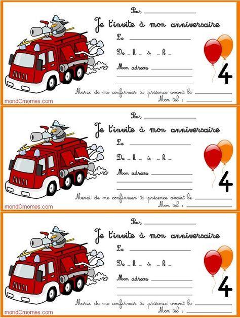 cartes invitation anniversaire enfant 4 ans pompier   Cartes invitation anniversaire enfant ...