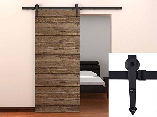Amazon.com: TMS TSQ08-Dark Modern American Style Barn Wood Sliding Door Hardware Closet Set, Black: Home Improvement