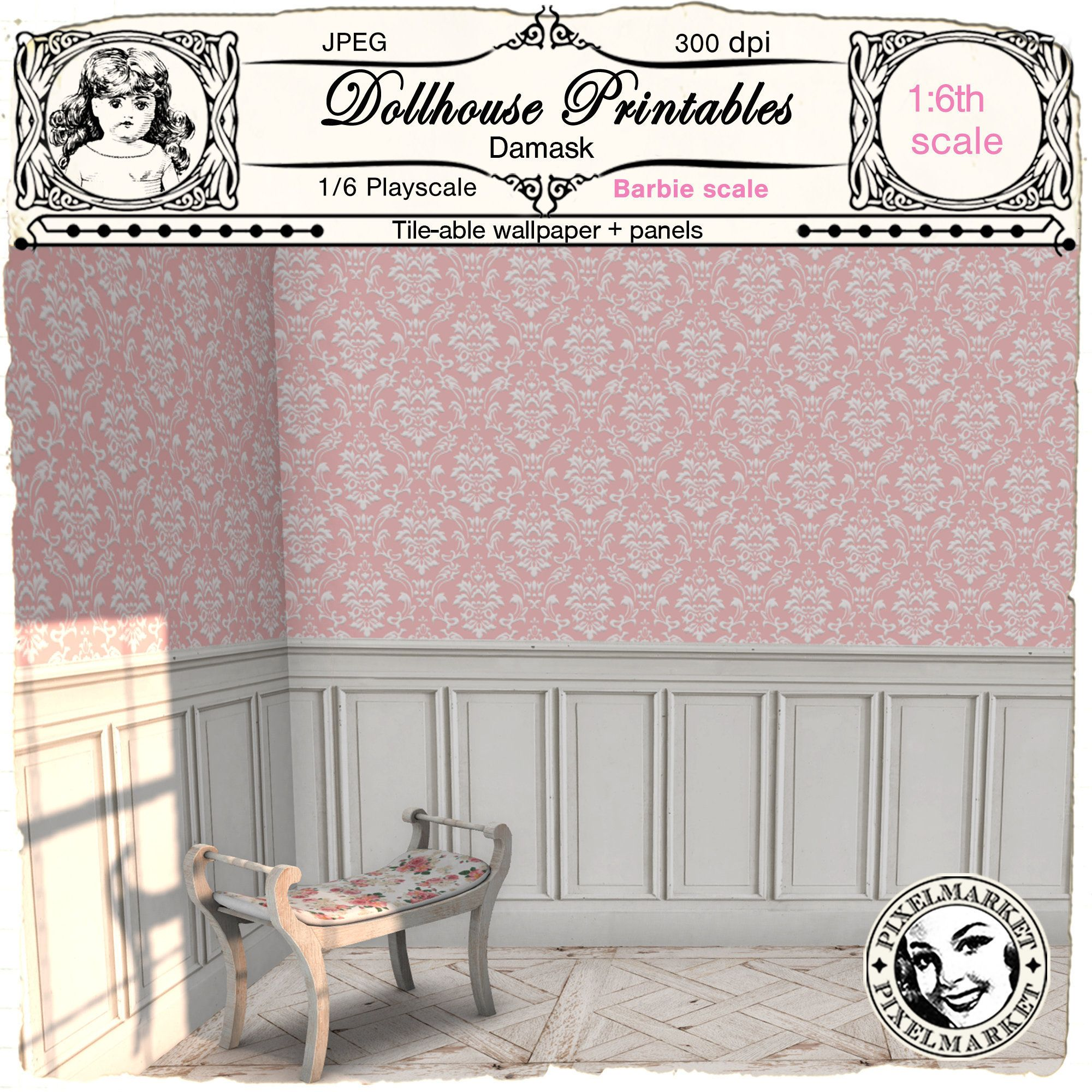 Dollhouse Printable Wallpaper And Wainscoting Pink Damask Wall Etsy Doll House Wallpaper Doll House Victorian Dollhouse Miniatures