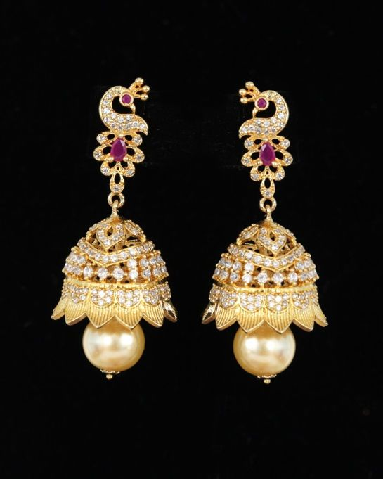 d3acc8d3b Gold plated Jhumka Peacock Earring Set Beautiful Traditional Women Jewelry