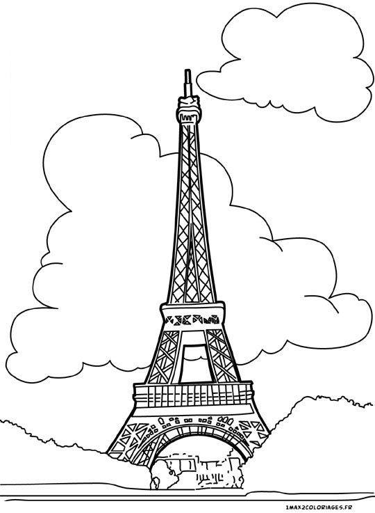 Coloriage Tour Eiffel A Paris Scrap Mots A Imprimer Coloring