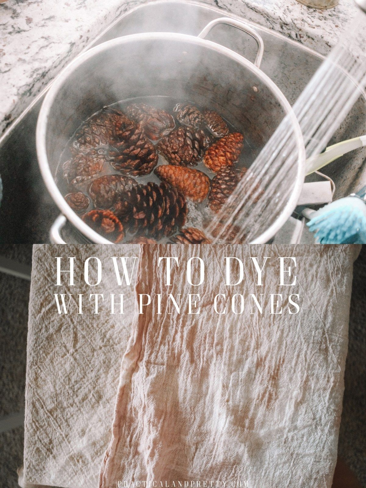 How to Dye with Pine Cones  Practical and Pretty is part of Natural dye fabric - Next time you see some pine cones gather them up and put together this easy dye vat to make a beautiful pink color or a nice gray with an iron bath