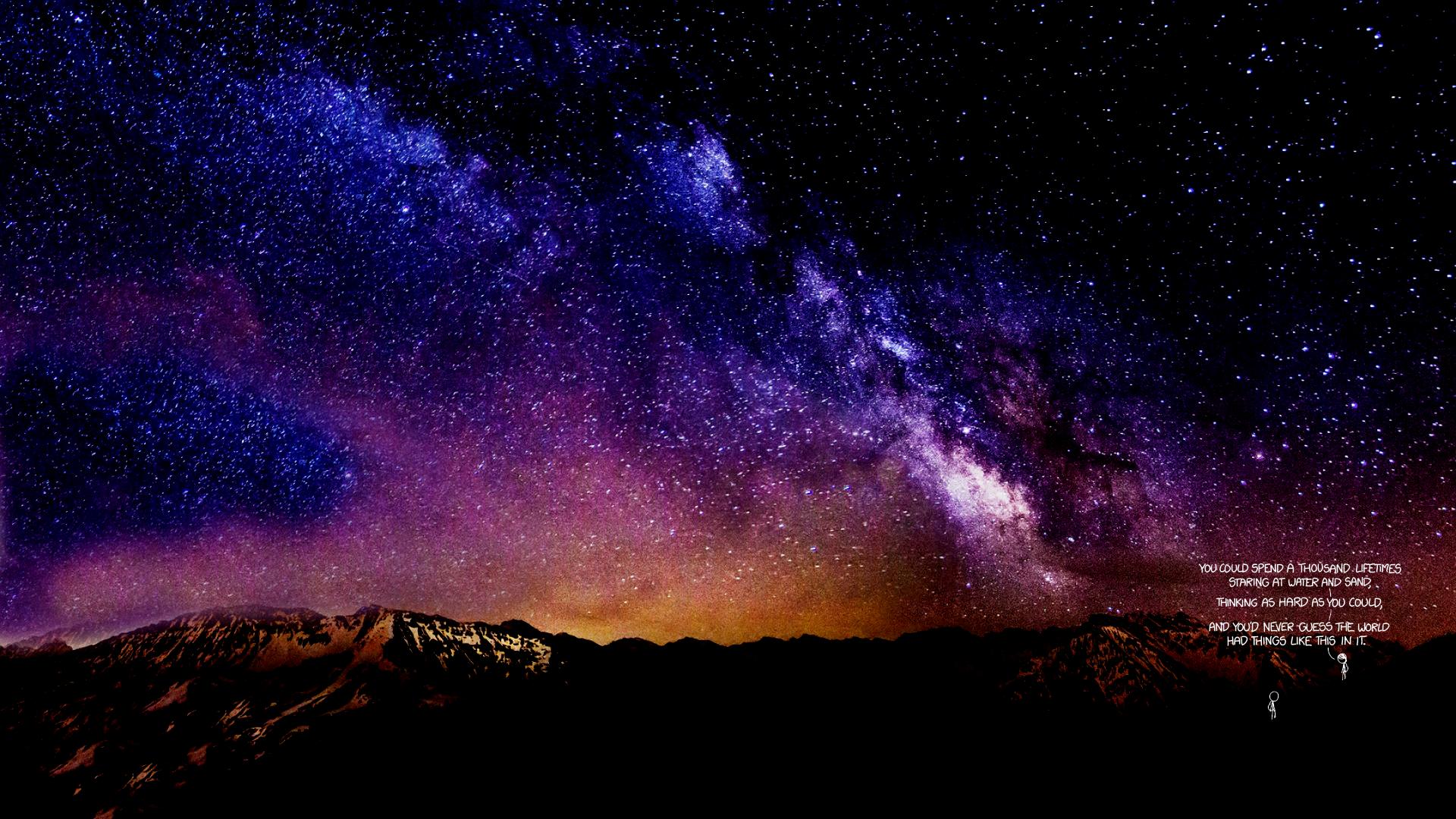 "Xkcd's ""Time"" Under A Night Sky [1920x1080]"