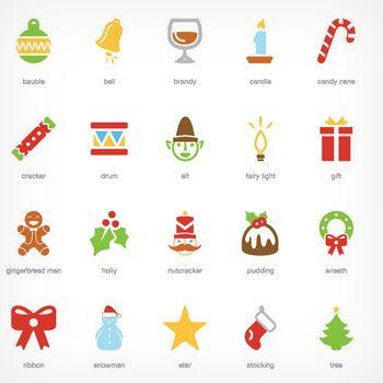 クリスマスをモチーフにした イラスト無料アイコン素材20個セット