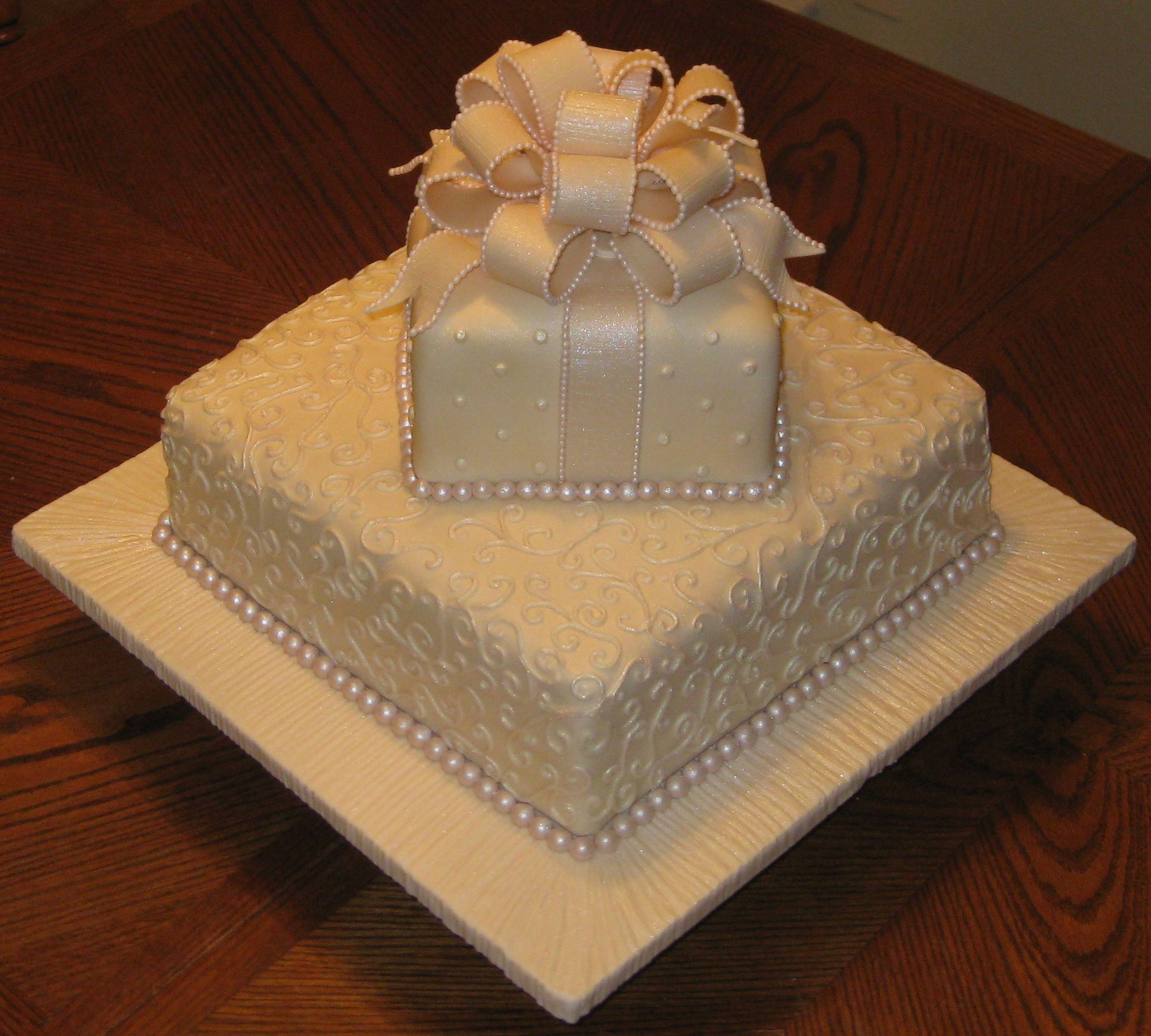 Tier Bridal Shower Cake All Fondant Including Tiny Pearl