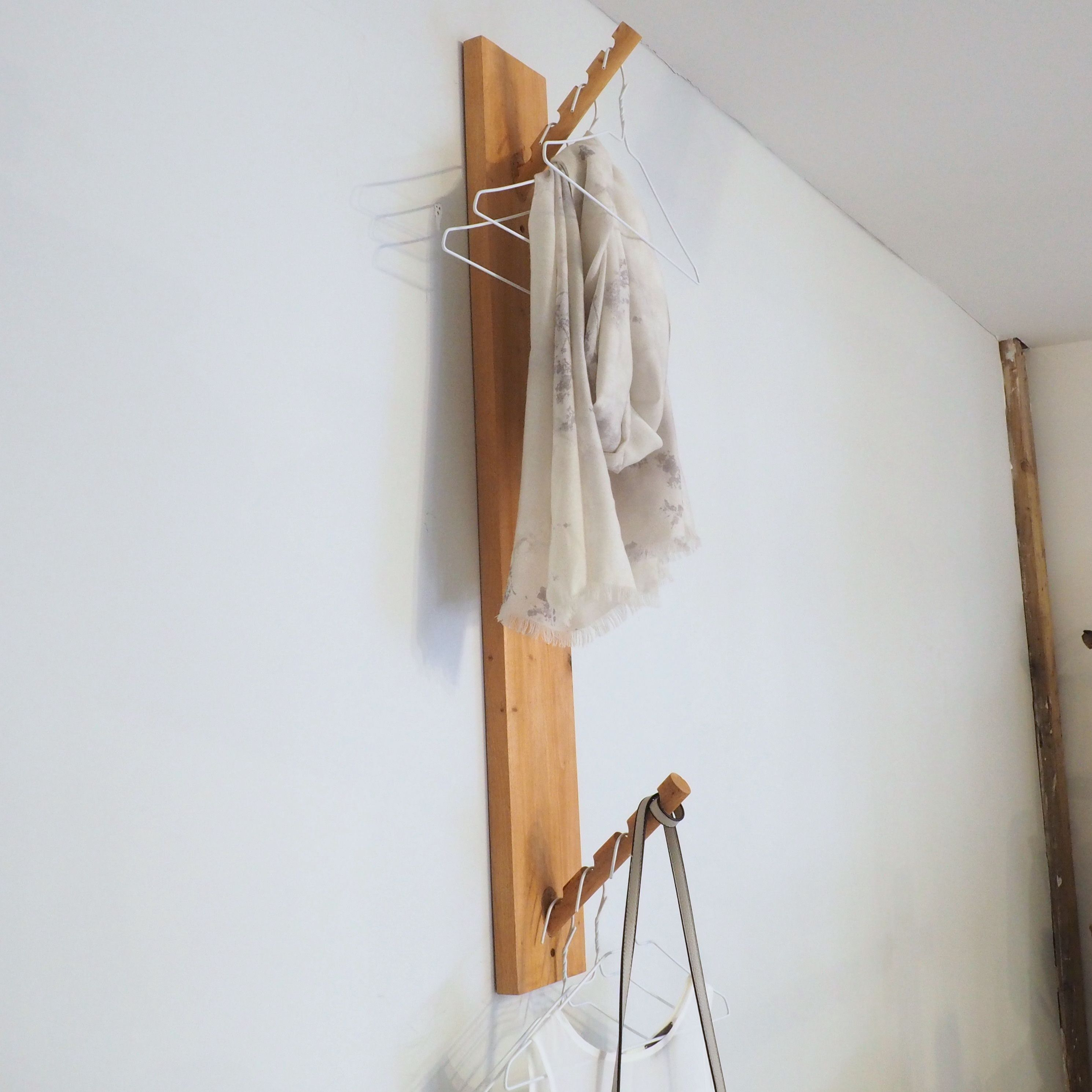 Vertical coat rack wall mount with 8 hooks. Handmade in Denmark