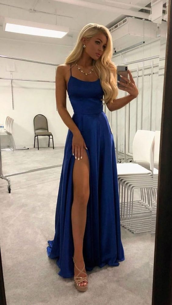 Simple satin blue long prom dress, blue evening dress #bluepromdresses