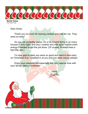 Thanks For Cookies Santa Letter Template Secret Santa Note Santa Notes