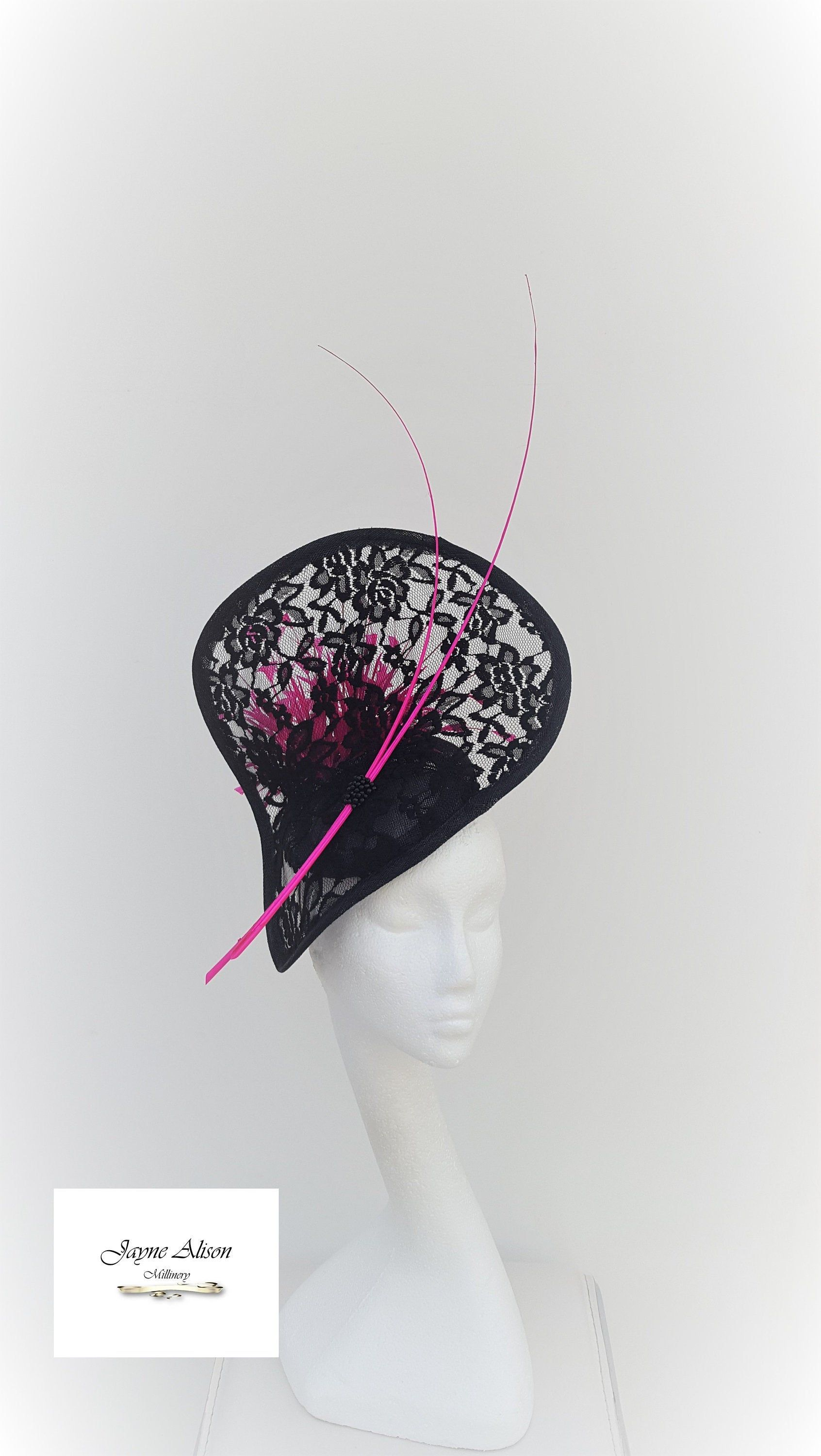 Pink and Black Hat Fascinator Hatinator Royal Ascot Kentucky Derby Weddings Occasions Mother of Bride Church Hat
