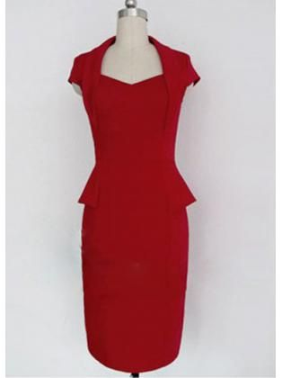 dcb7fdc7483 Hot Red Empire Waist Tight Dress with Frill