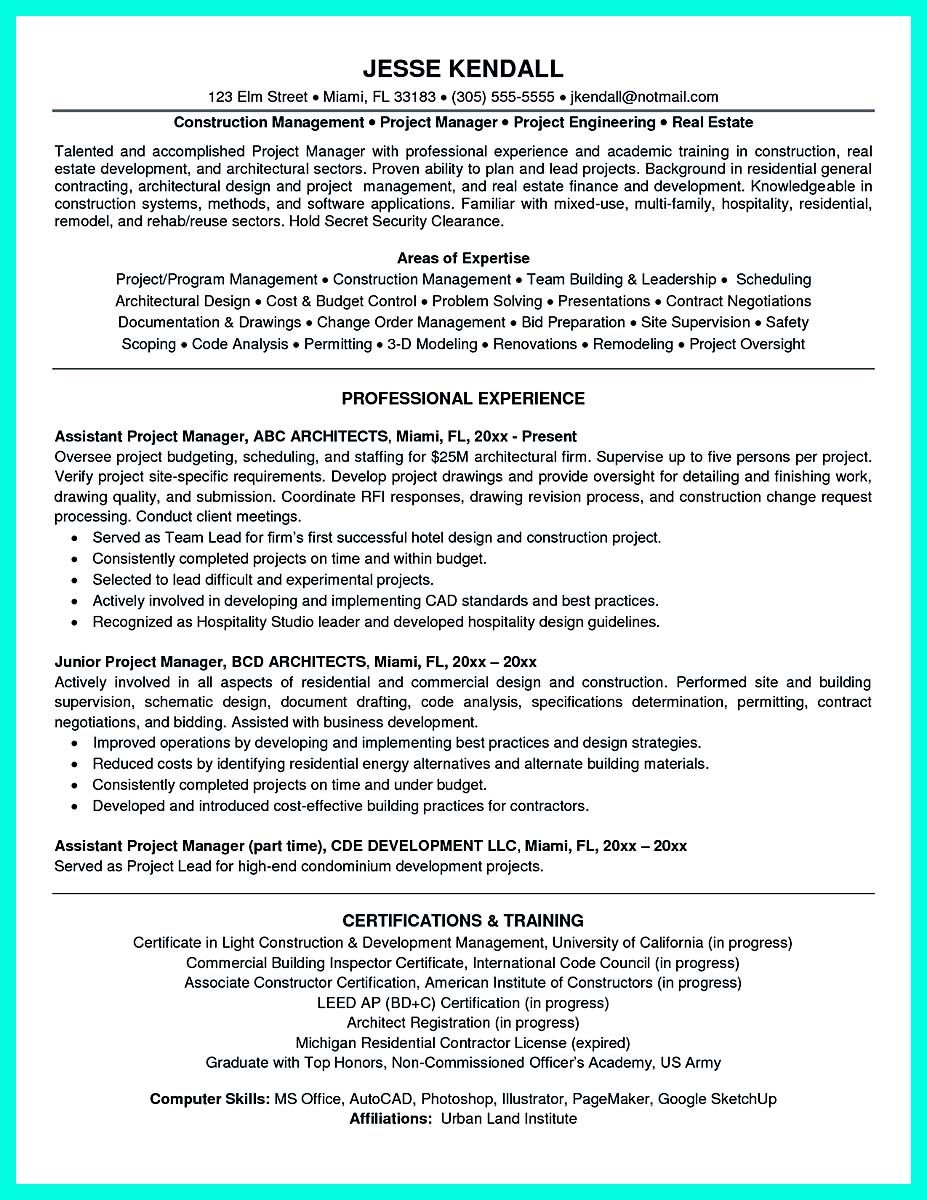 awesome Cool Construction Project Manager Resume to Get Applied ...